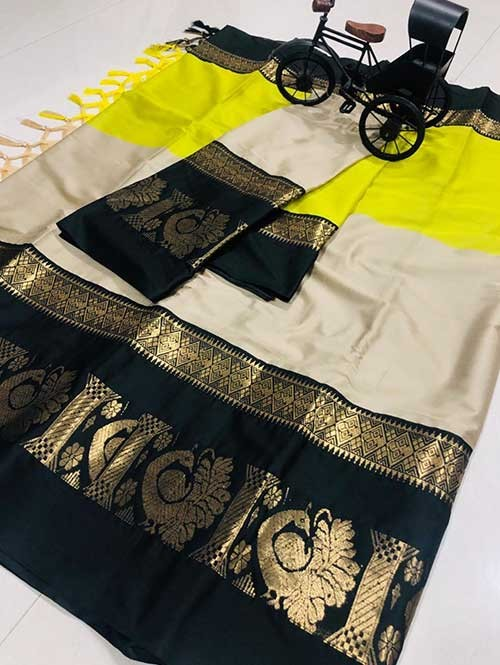 Cream and Yellow Color Beautiful Weaving Cotton Silk Saree - Aff