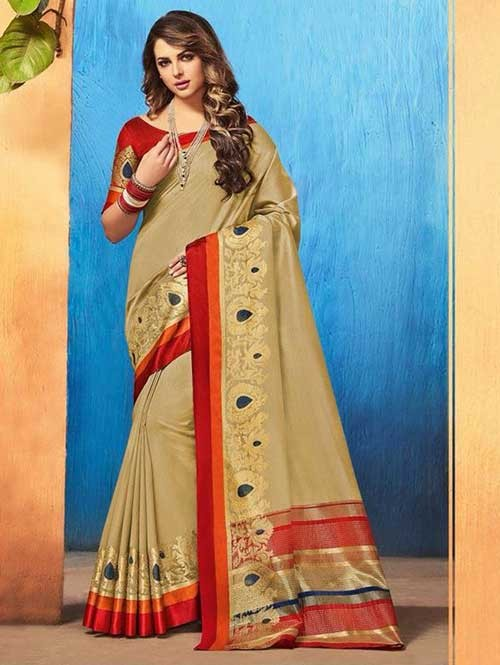 Cream Color Beautiful Cotton Silk Saree