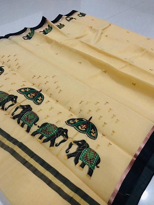 Cream Color Beautiful Weaving Cotton Saree - Twinsland