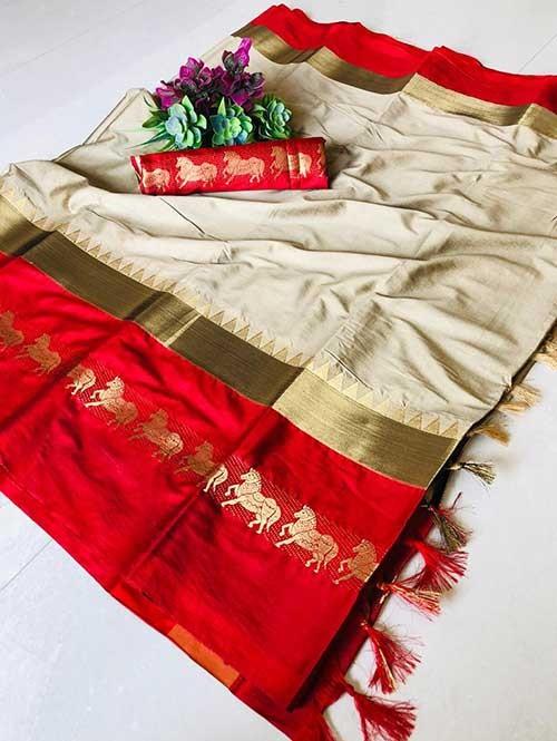 Cream Color Beautiful Weaving Cotton Silk Saree - Horse Ride