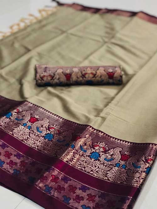 Cream Color Beautiful Weaving Cotton Silk Saree - Kalakruti