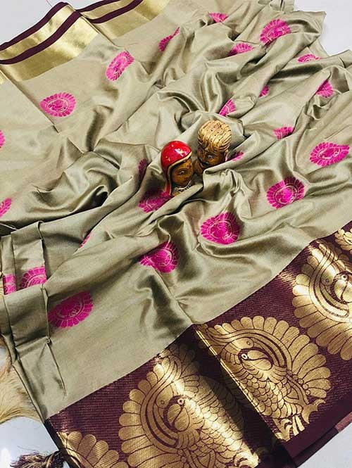 Cream Color Beautiful Weaving Cotton Silk Saree - Kyara