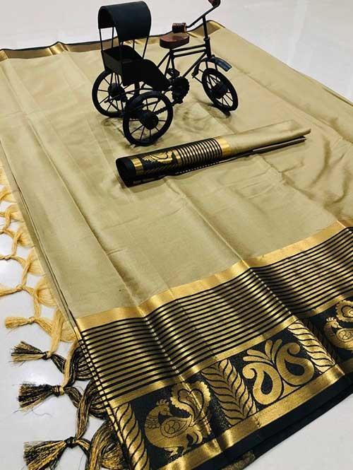 Cream Color Beautiful Weaving Cotton Silk Saree - Rupa