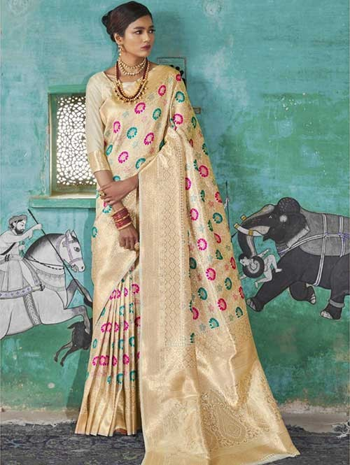 Cream Color Beautiful Weaving Silk Saree