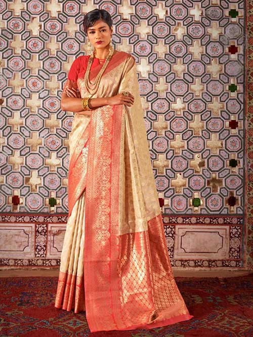 Cream Color Beautiful Weaving Silk Saree - Karveena