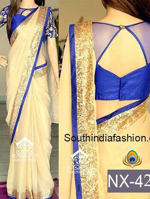 Cream Color Georgette Saree with eye-catching Work On border