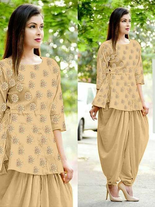 Cream Color Heavy Cotton Jacquard Patiyala Style Ready-made Suit - Bunaai 3