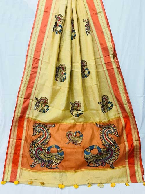 Cream Colored Beautiful Embroidered Cotton Saree