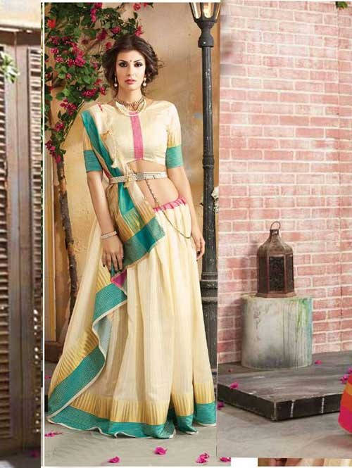Cream Colored Beautiful Embroidered Cotton Saree With Matching Blouse