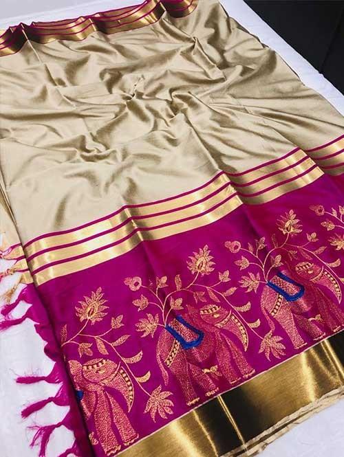 Cream Colored Beautiful Embroidered Cotton Silk Saree