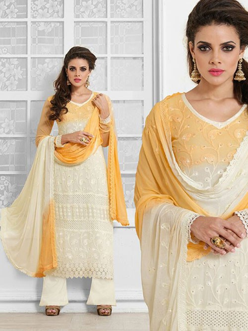 Cream Colored Beautiful Embroidered Faux Chiffon Suit