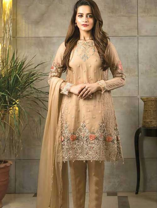 Cream Colored Beautiful Embroidered Faux Georgette Pakistani Suit