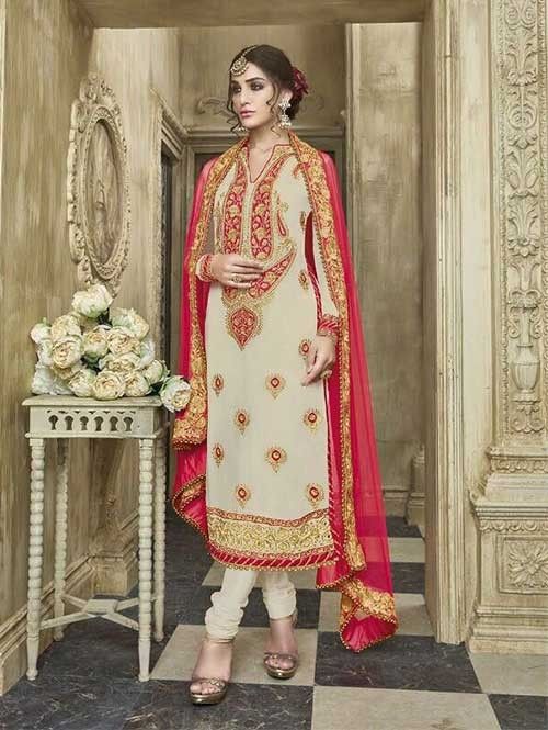 Cream Colored Beautiful Embroidered Faux Georgette Salwar Suit With four side embroidery less with latkan Dupatta