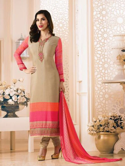Cream Colored Beautiful Embroidered France Creap Salwar Suit
