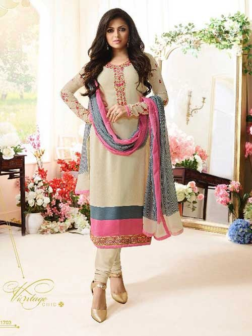 Cream Colored Beautiful Embroidered French Creap Salwar Suit With Embroidery Work