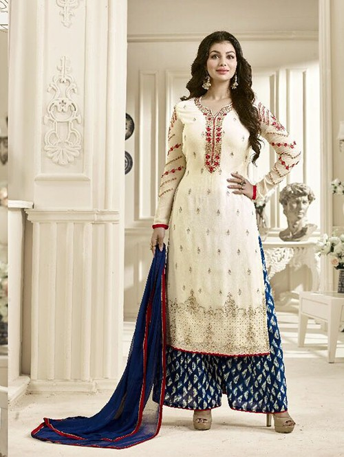 Off White Colored Beautiful Embroidered Georgette Salwar Suit