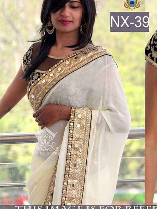 Cream Colored Beautiful embroidered Georgette Saree with Beautiful Blouse