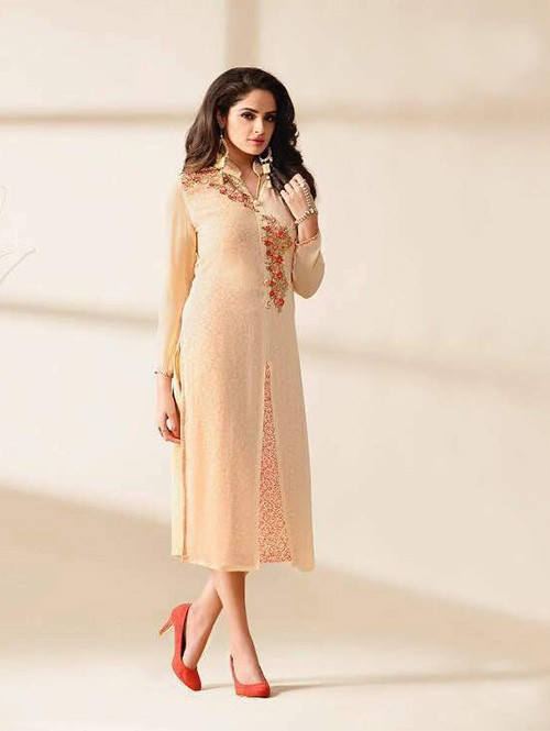 Cream Colored Beautiful Embroidered Georgette Stylist Kurti.