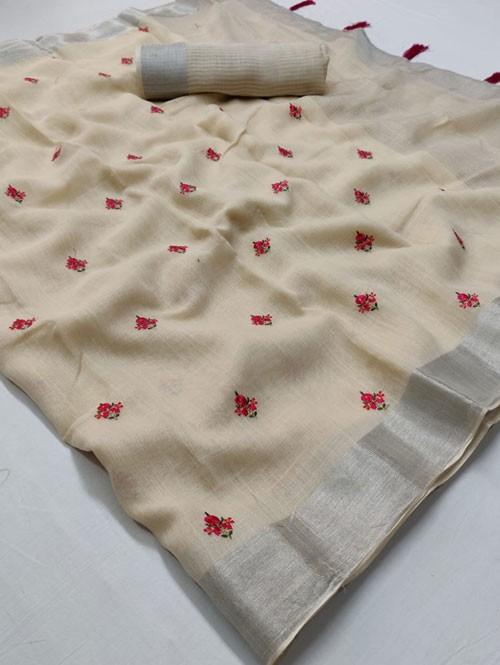 Cream Colored Beautiful Embroidered Linen Saree - Kashmiri