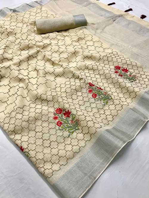 Cream Colored Beautiful Embroidered Linen Saree - Ruchi Silk