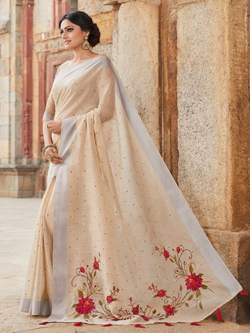 Cream Colored Beautiful Embroidered Linen Saree With Mirror Work