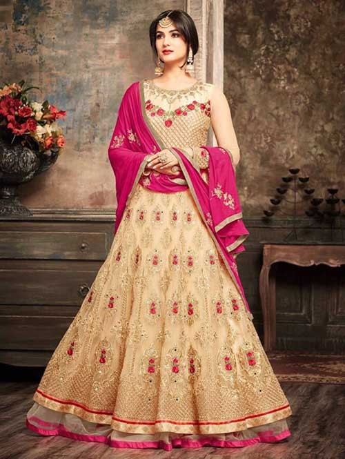 Cream Colored Beautiful Embroidered Net Anarkali Suit