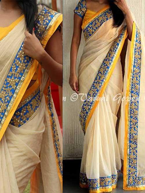 Cream Colored Beautiful Embroidered Nylon Silk Saree