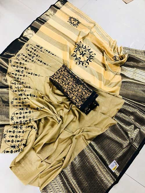 Cream Colored Beautiful Embroidered Pure Silk Cotton Saree