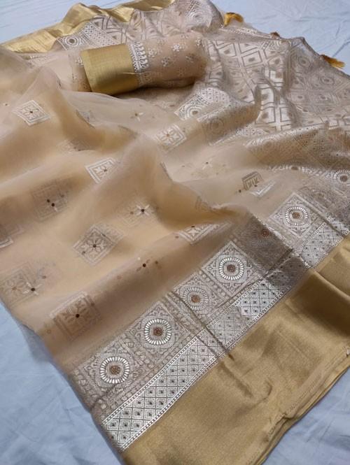 Cream Colored Beautiful Foil Printed Organza Saree - Palkhi