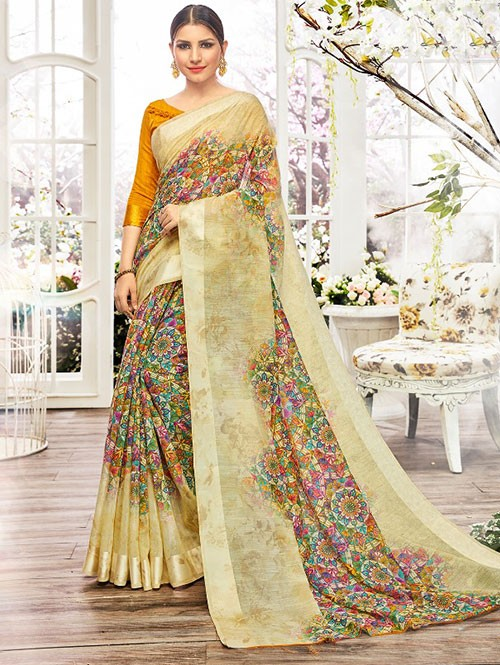 Cream Colored Beautiful Linen Cotton Saree With Authentic Handloom Art Prints Based On Mastered Art Of Weaving Fabrics