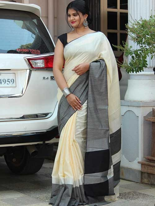 Cream Colored Beautiful Linen Saree With Running Blouse