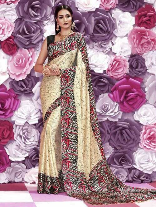 Cream Colored Beautiful Printed Crepe Saree