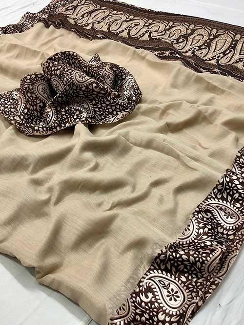 Cream Colored Beautiful Printed Linen Saree with Satin Patta - Stavan Silk
