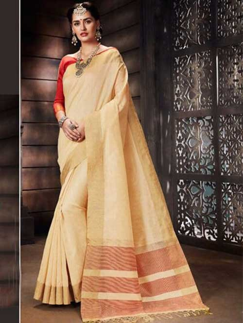 Cream Colored Beautiful Raw Silk Saree With Double Blouse