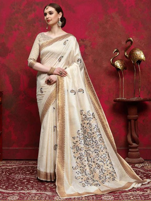 Cream Colored Beautiful Weaving Silk Saree - Kalika