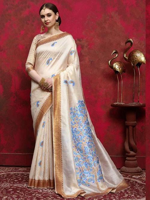 Cream Colored Beautiful Weaving Silk Saree - Kalika