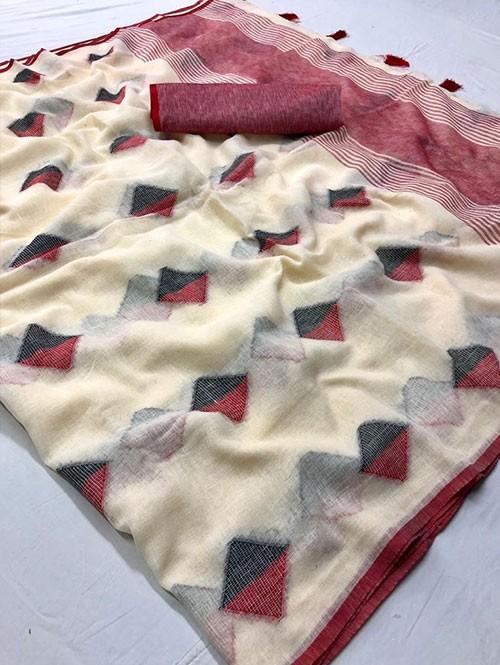 Cream Colored Beautiful Woven Linen Saree