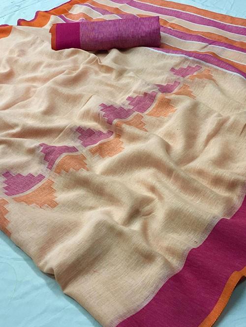 Cream Colored Beautiful Woven Linen Saree - Sneha