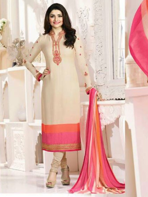 Cream Colored Casual wear Beautiful Embroidered Crepe Suit