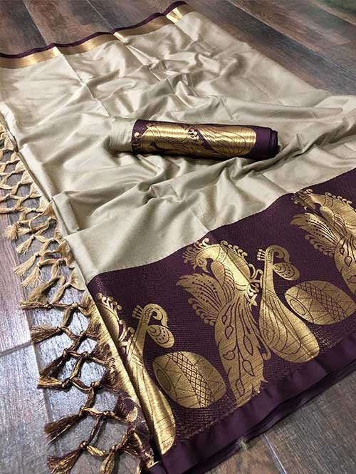 Cream Colored Cotton Silk Saree - Flying Bird