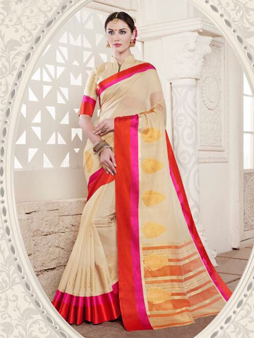 Cream Colored Cotton Silk Saree