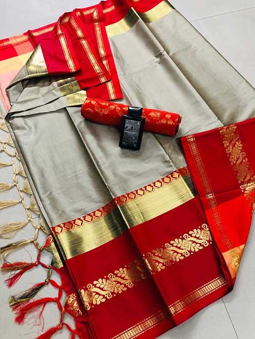 Cream Colored Cotton Silk Saree - Payal
