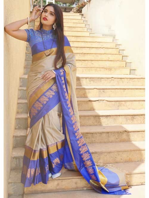 Cream Colored Cotton Silk Saree with Extra Blose Piece - Rich Mayurica