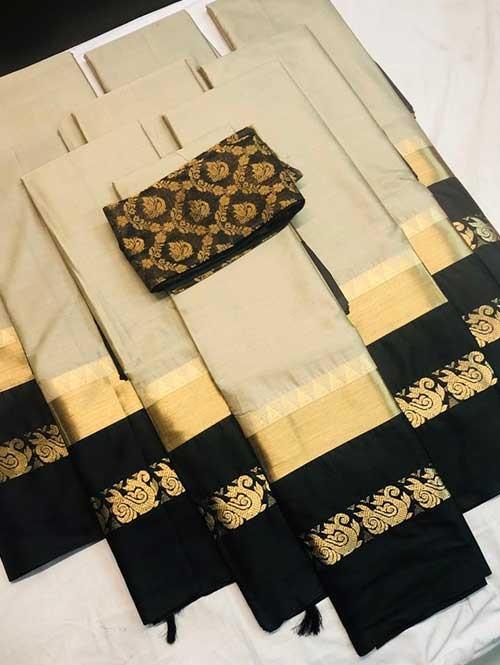Cream Colored Cotton Silk Saree with Extra Blouse - Priya