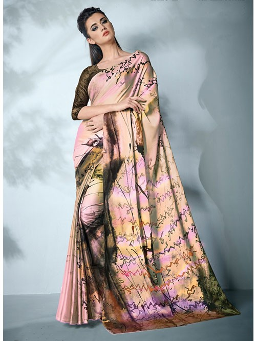 Cream Colored Digital Printed Cotton Bladed Saree
