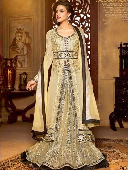 Cream Colored Faux Georgette Salwar Suit With Delicate Reshan and Zari Embroideries