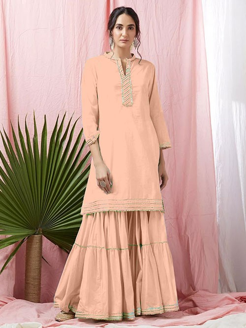 Cream Colored Glorious Rayon Sharara Pant and Kurta With Gotta Patti - Eid Special