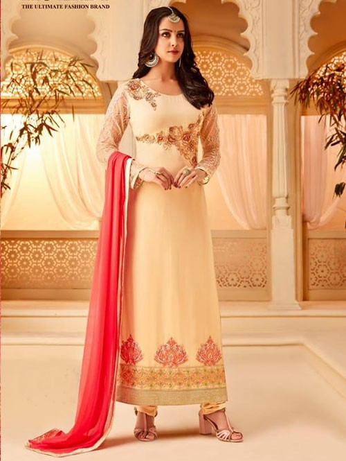 Cream Colored Heavy Embroidered Original Georgette Salwar Suit Material