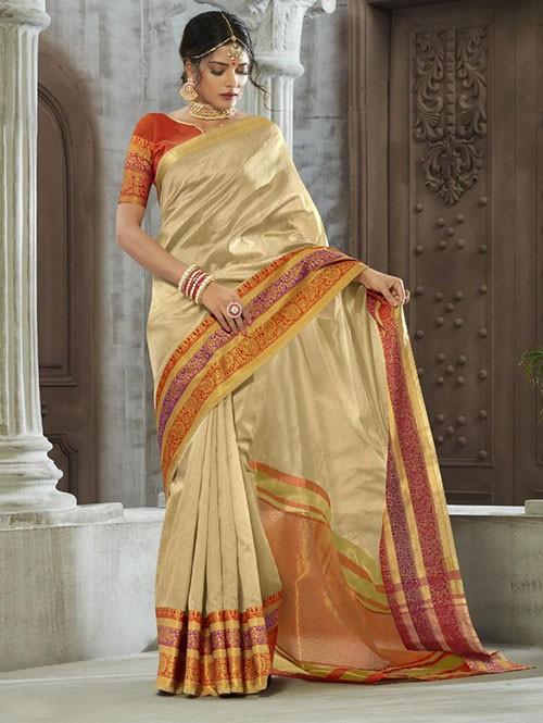 Cream Colored Zari Chex Cotton Silk Fancy Saree