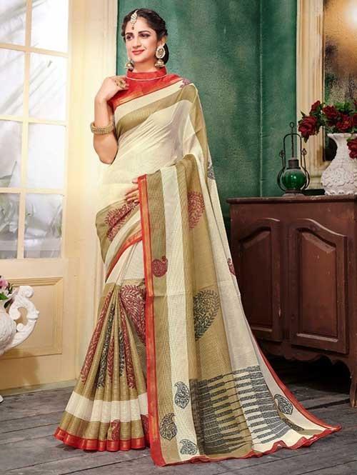 Cream Colored Zari Chex Cotton Silk Saree - Vinamrta